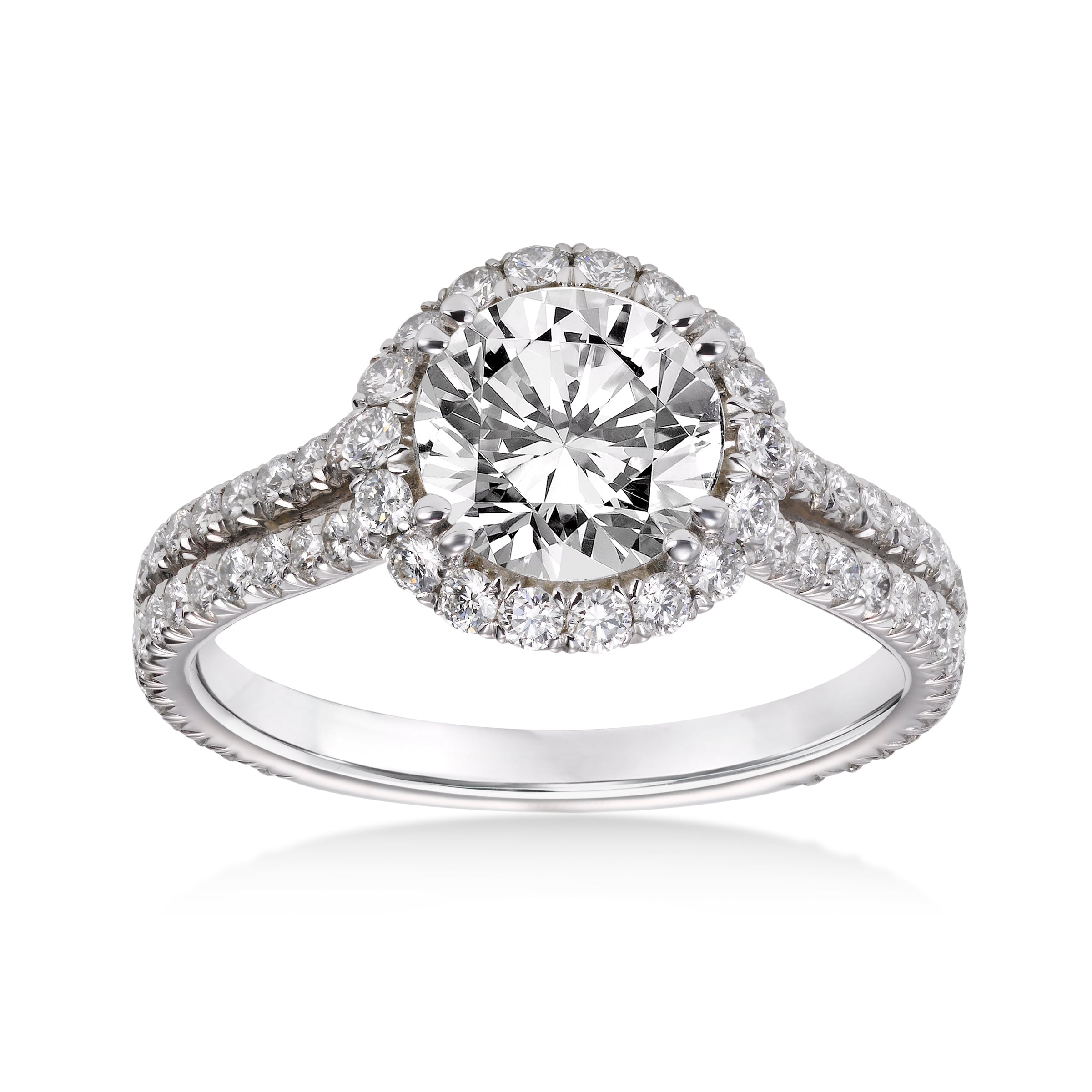 Micropavé Diamond Ring with Halo, Platinum
