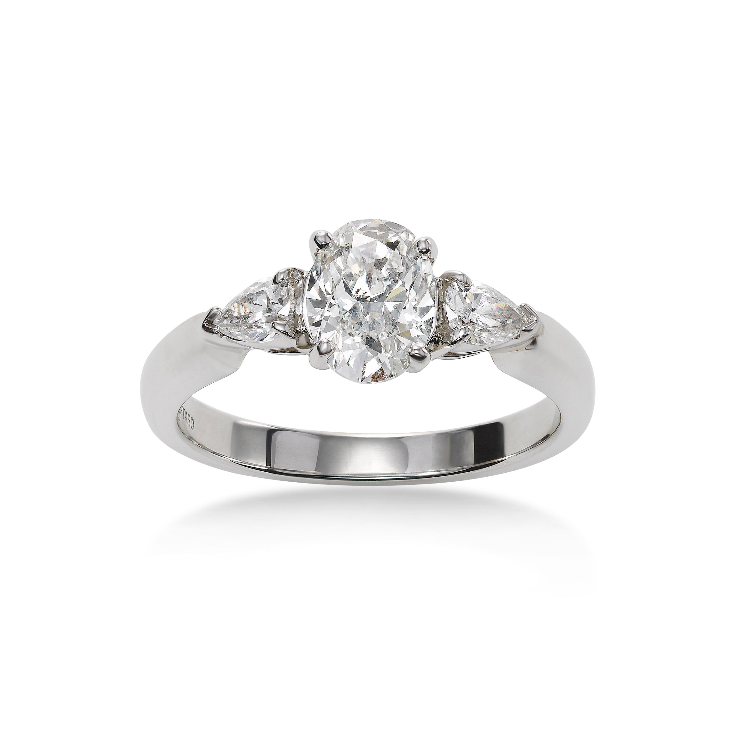 Oval Shaped Diamond Engagement Ring, 14K White Gold