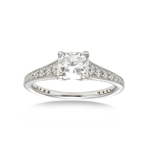 Romantic Cushion Cut Diamond Ring, 1 Carat, Platinum
