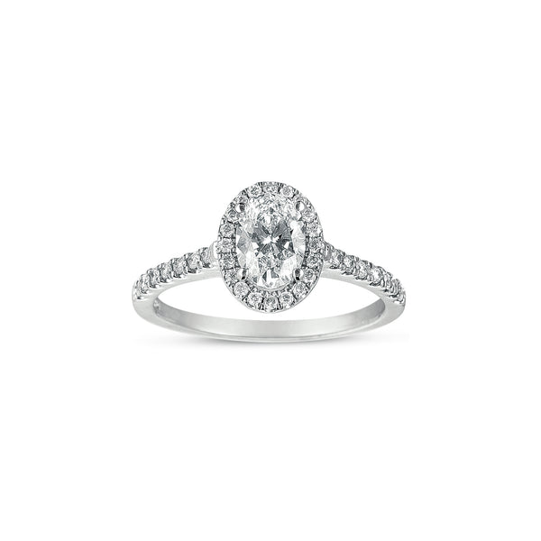 Oval Halo Diamond Engagement Ring, 14K White Gold