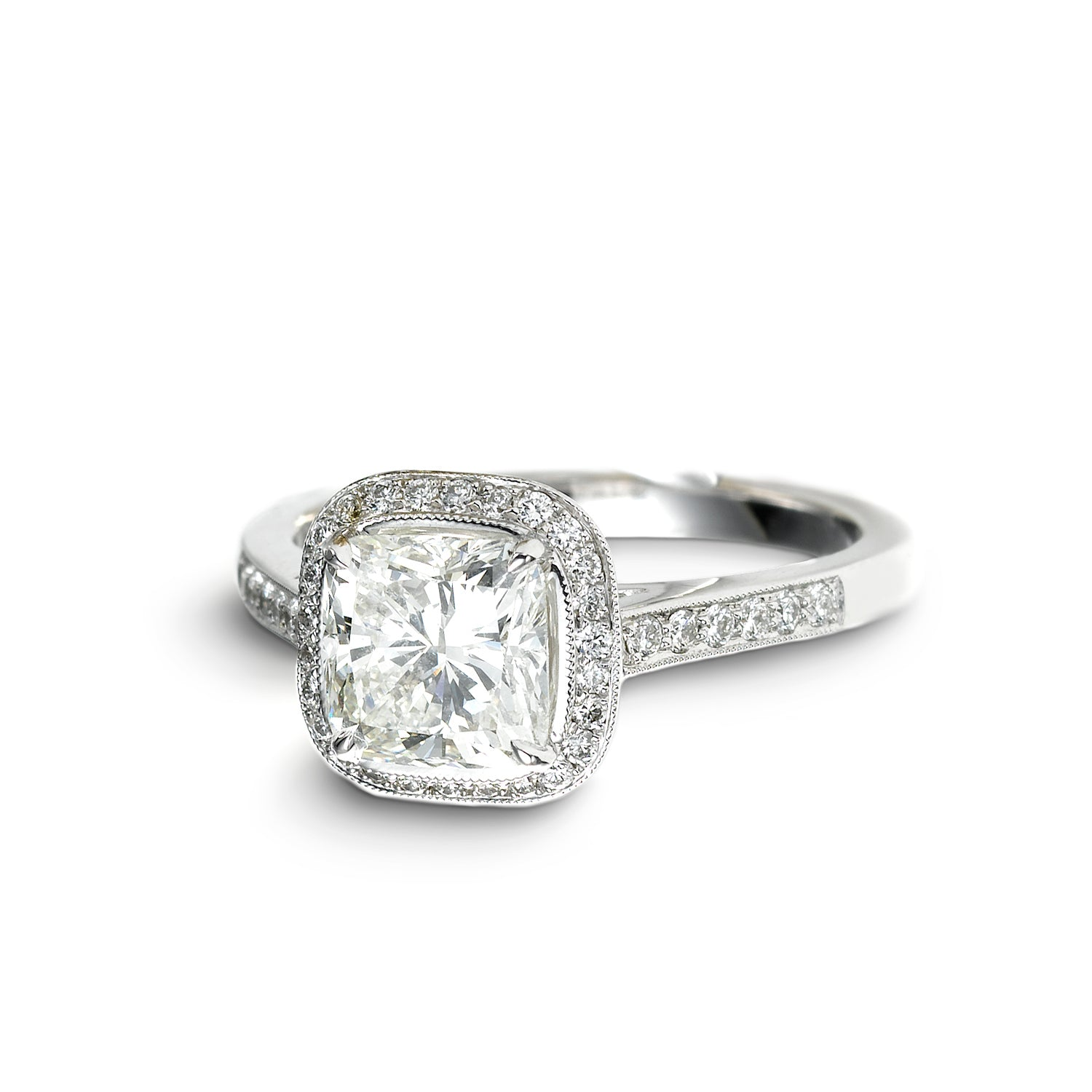 Cushion Cut Diamond Ring, 1.25 Carats, 18K White Gold