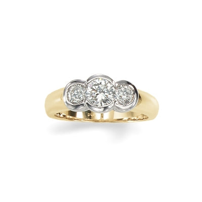 Three Stone Bezel Set Diamond Ring, 14 Karat Gold