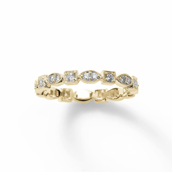 Multishape Pave Diamond Design Band, 18K Yellow Gold