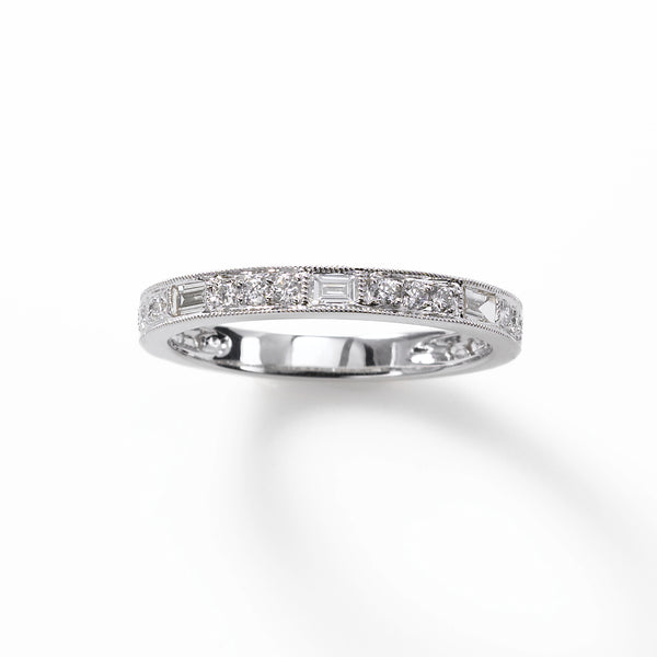 Round and Baguette .39 carat Diamond Band, 18K WG