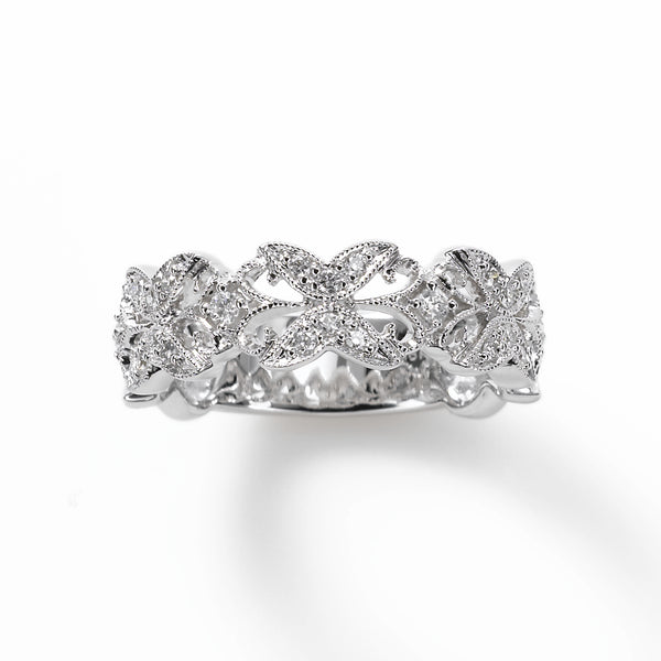 Retro Look Diamond Band, .37 Carat, 14K White Gold