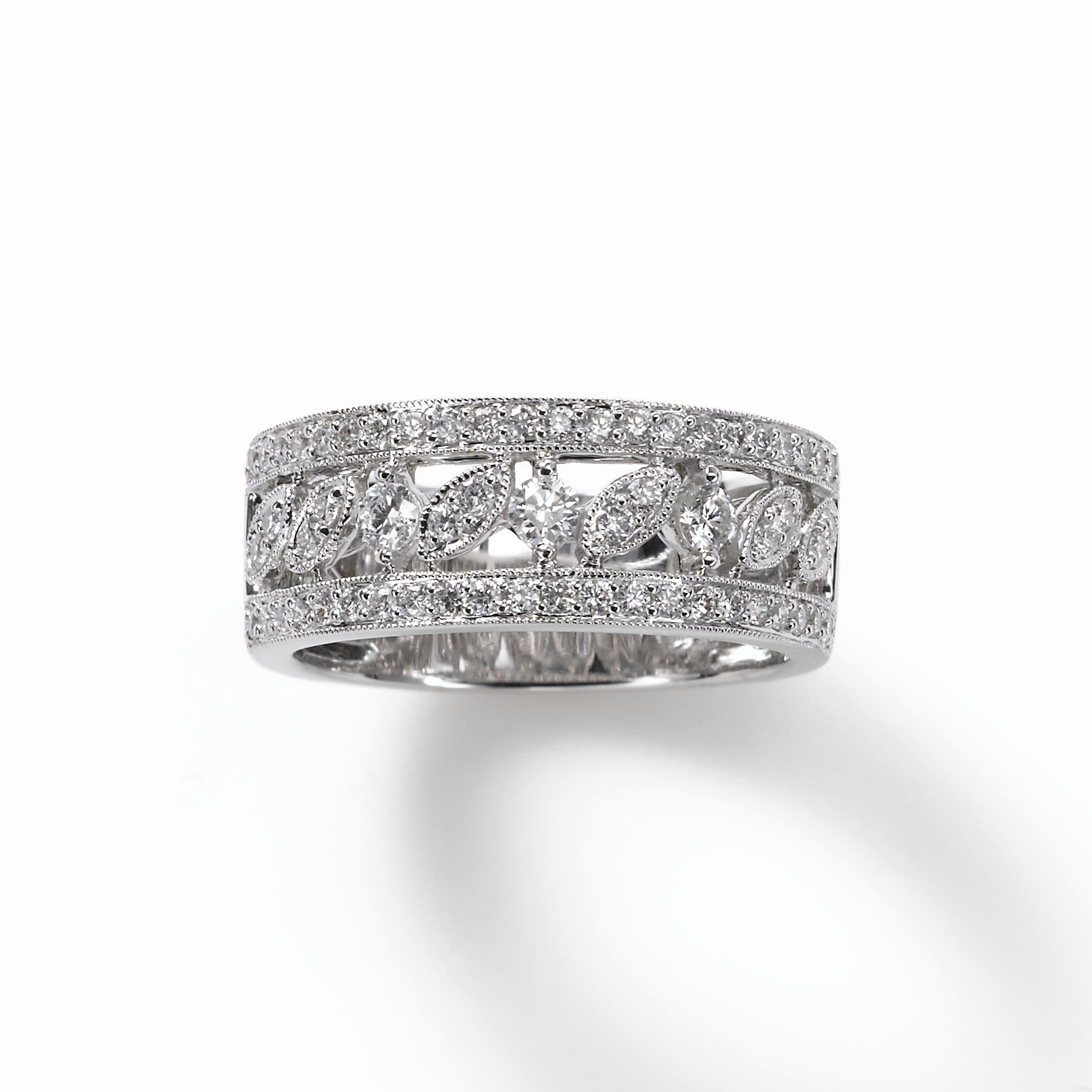 Wide Vintage Design Diamond Band, .65 Carat, 18K White Gold
