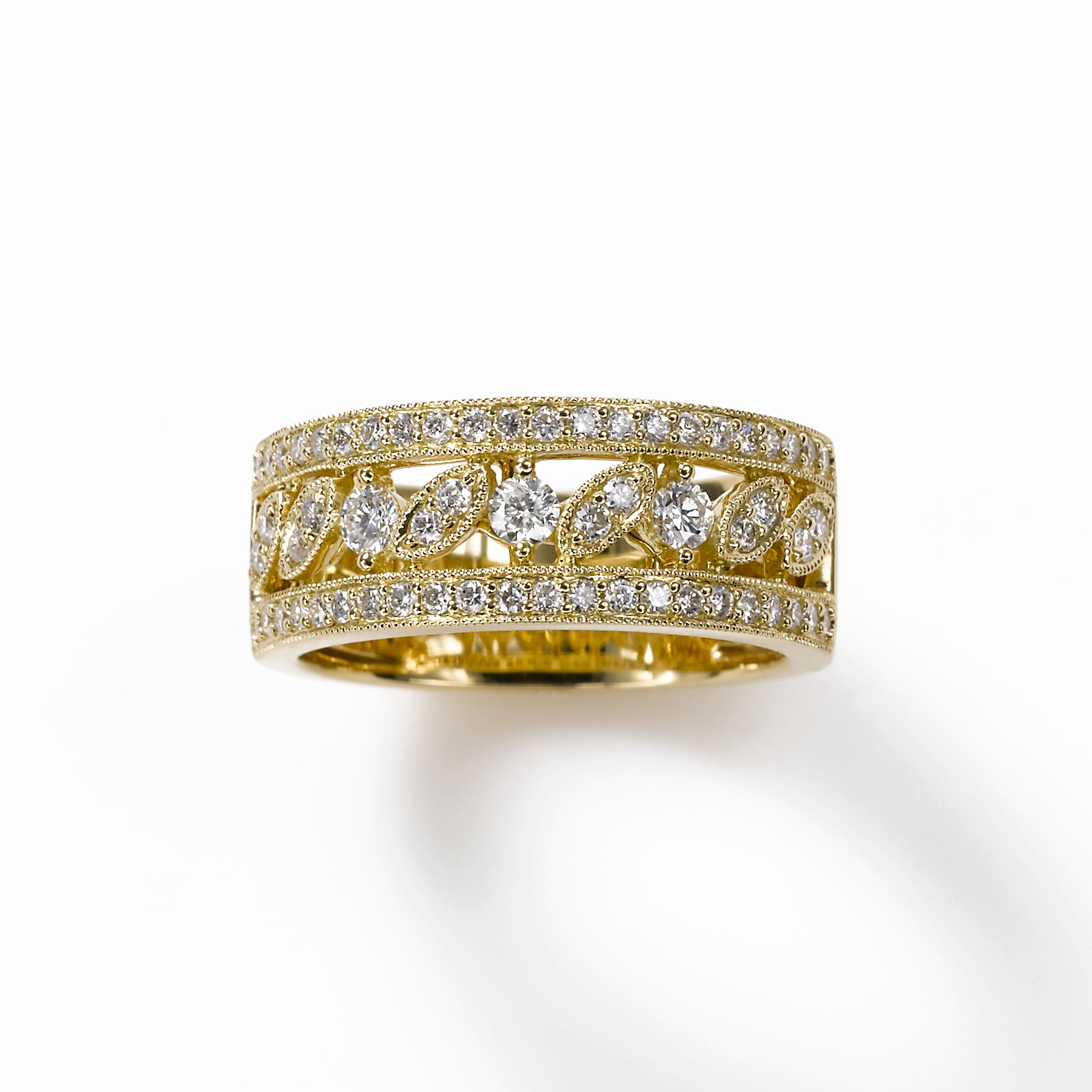Vintage Style Band Size 6, .70 Carat, 18K Yellow Gold