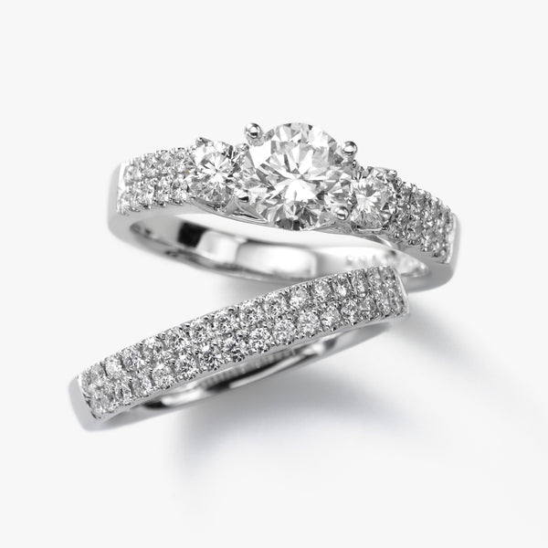 Diamond Remount with Matching Band, .97 Carat TW, 14K White Gold