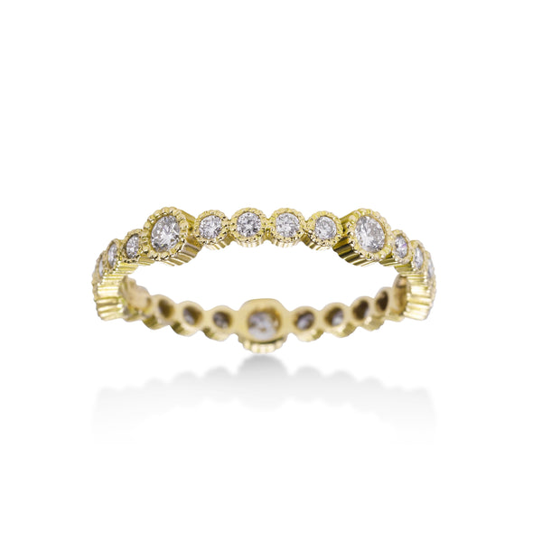 Bezel Set Diamond Eternity Band, 14K Yellow Gold