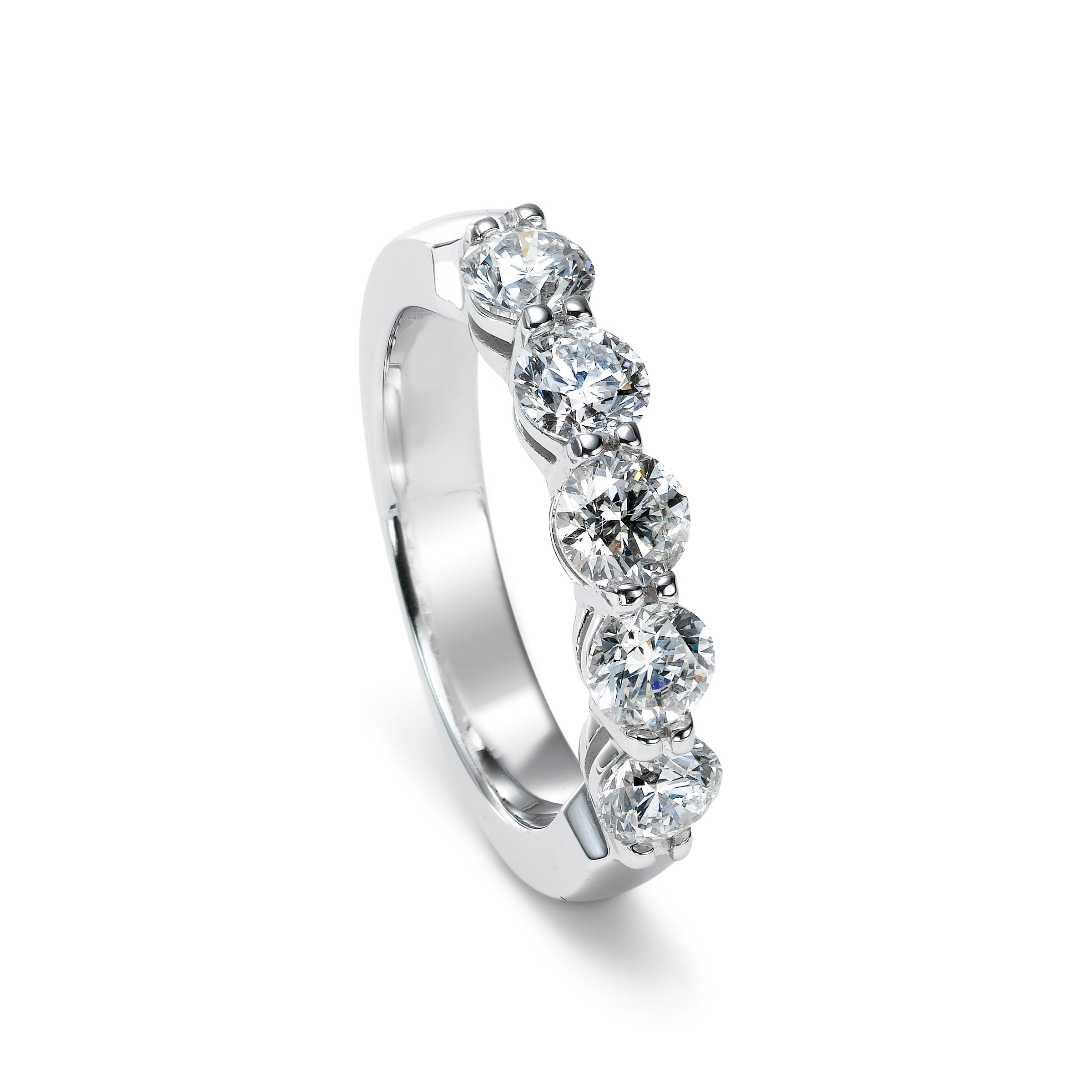 Five Stone Shared Prong Diamond Band, 14K White Gold