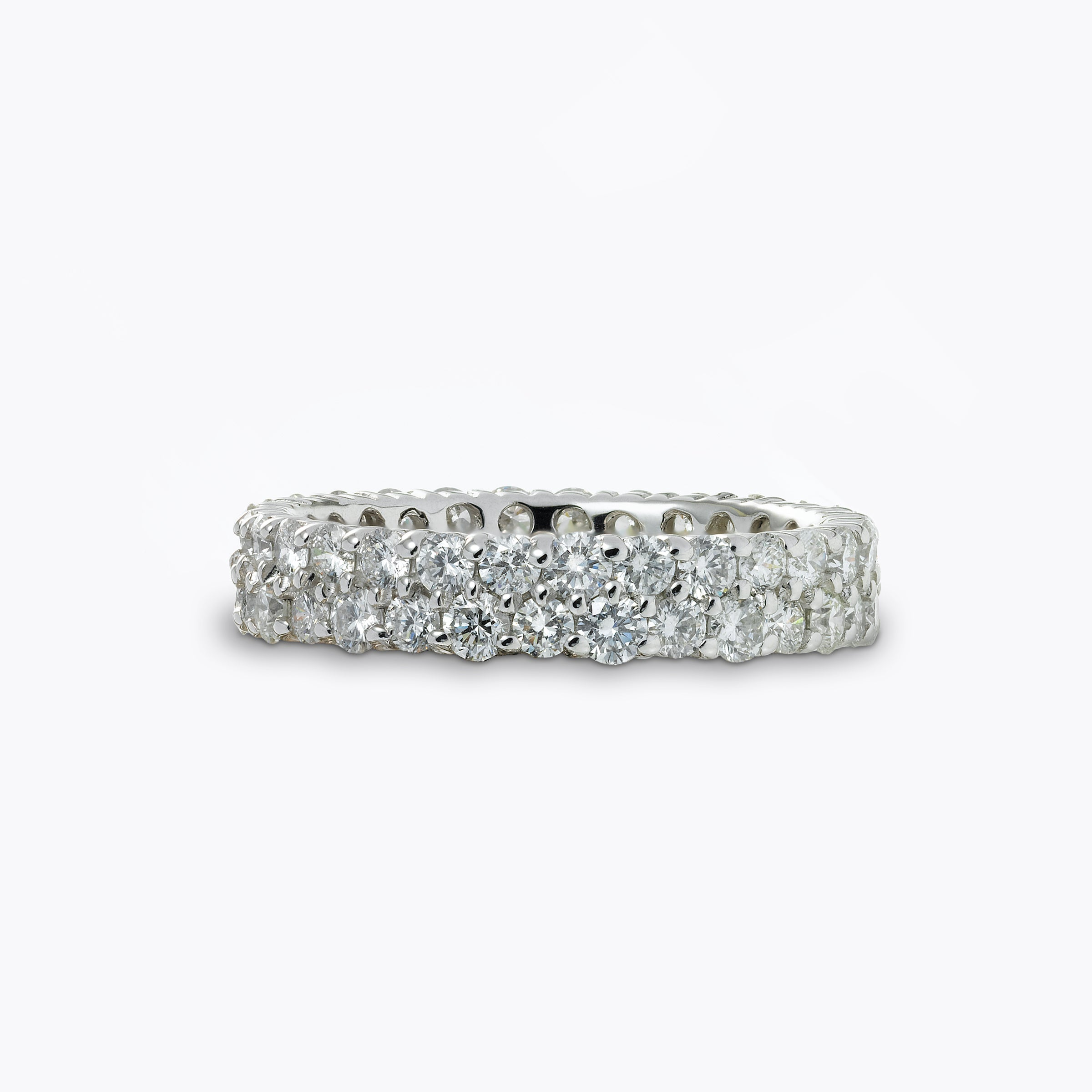 Double Row Diamond Eternity Band, 14K White Gold