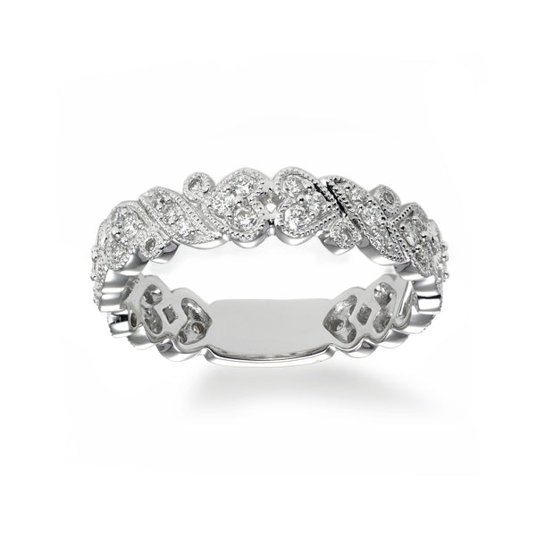 Heart Motif Diamond Band, 18K White Gold