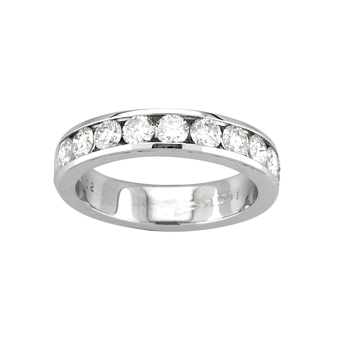 Channel Set Diamond Half Round Band, 14K White Gold