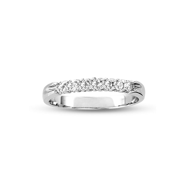 Seven Stone Shared Prong Diamond Wedding Band, .33 Carat, 14K White Gold