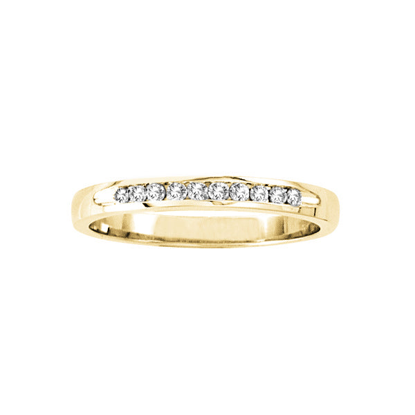 Channel Set Diamond Band, 14K Yellow Gold