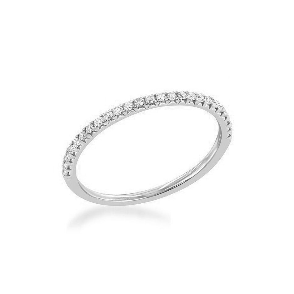 Half Way Around Stackable Diamond Band, 14K White Gold