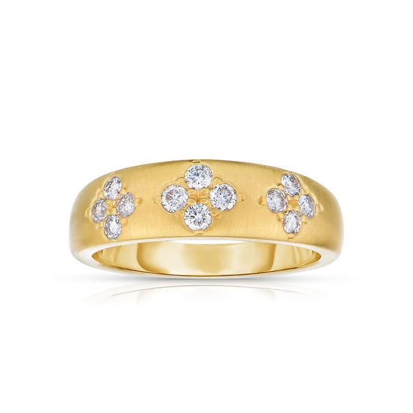 Matte Gold Diamond Band, 14K Yellow Gold