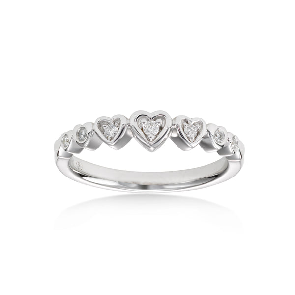 Multi Heart Diamond Ring, 14K White Gold