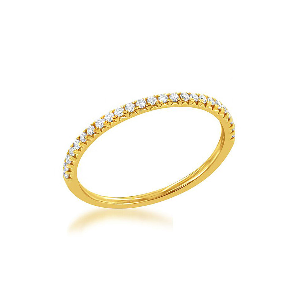 Half Way Around Stackable Diamond Band, 14K Yellow Gold