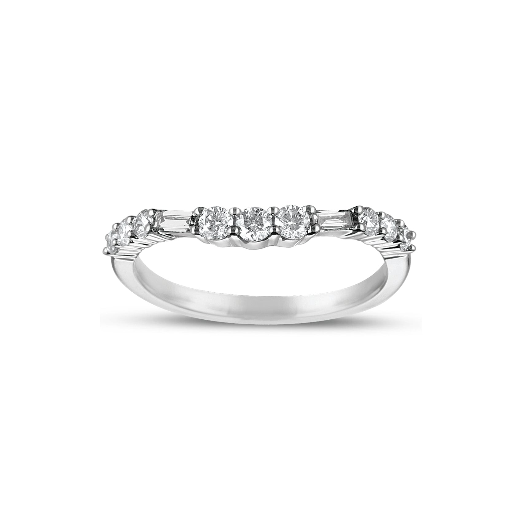 Baguette and Round Diamond Curved Band, 14K White Gold