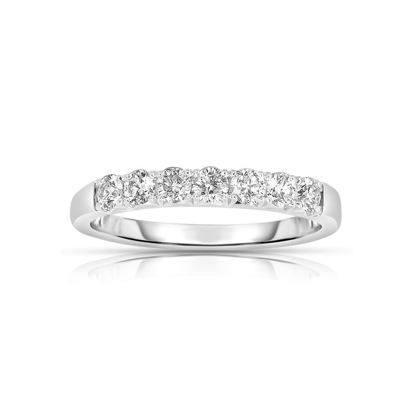 Seven Stone Diamond Band, .49 Carat, 14K White Gold