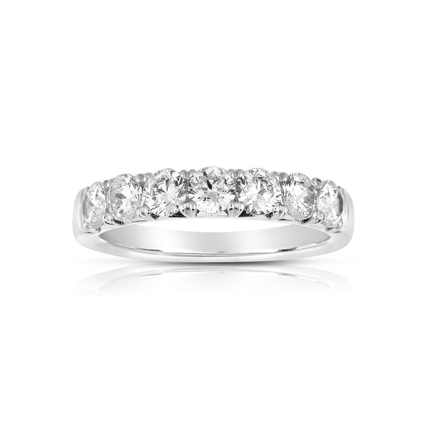 Seven Stone Diamond Band, .70 Carat, 14K White Gold
