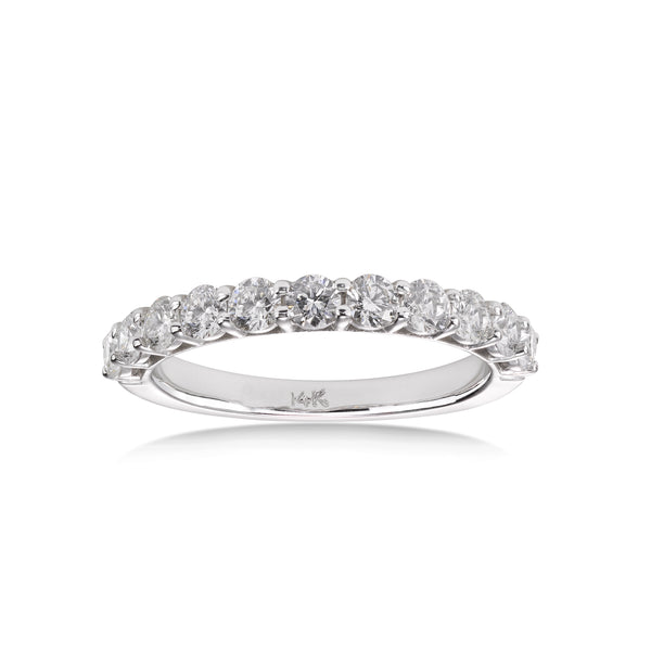 Half Way Shared Prong Diamond Wedding Band, 1 Carat, 14K White Gold
