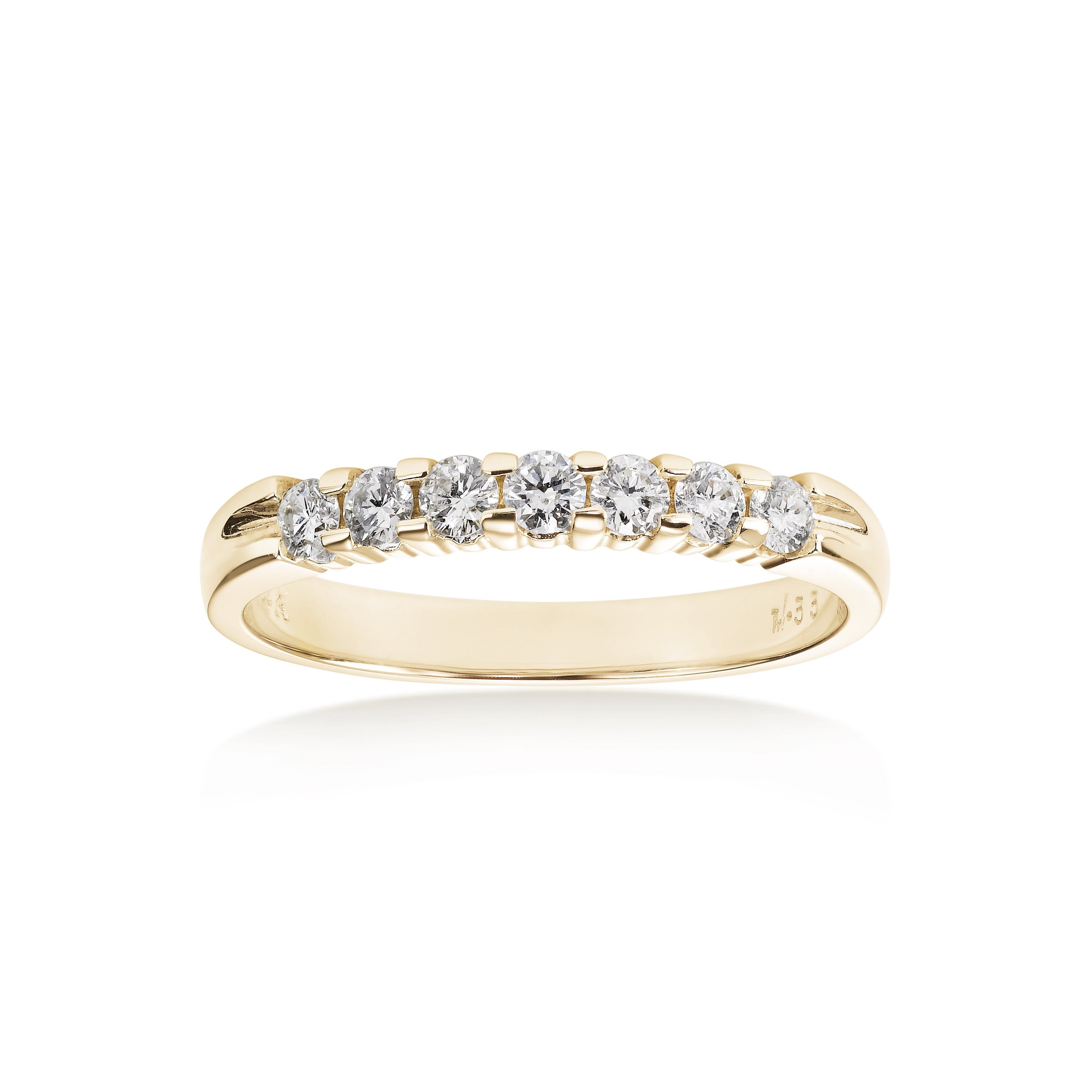 Seven Stone Shared Prong Diamond Wedding Band, .75 Carat, 14K Yellow Gold