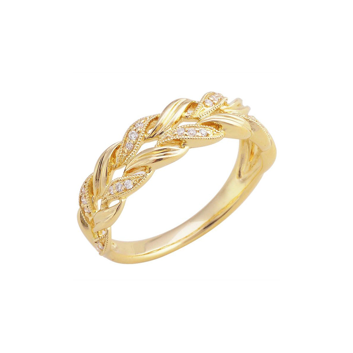 Open Braided Diamond Ring, 14K Yellow Gold
