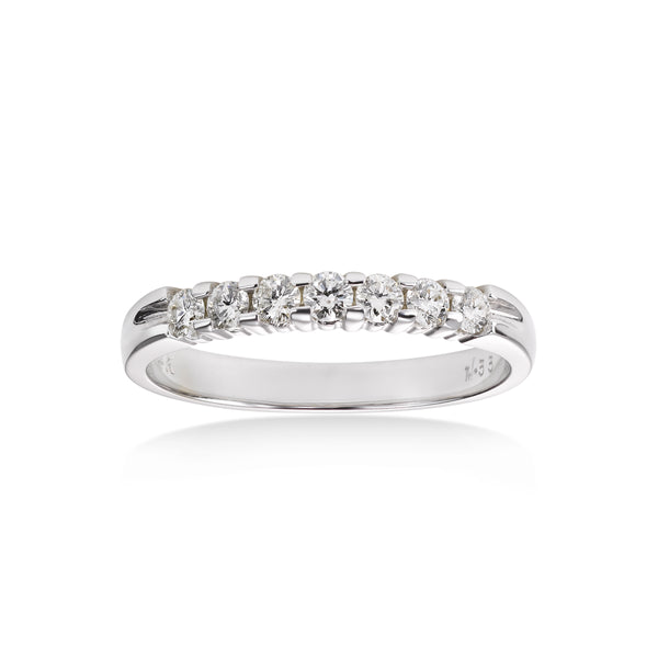 Seven Stone Shared Prong Diamond Wedding Band, .50 Carat, 14K White Gold