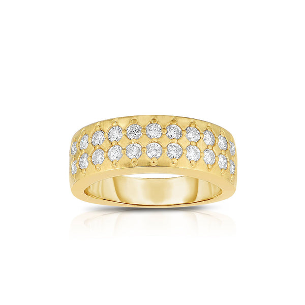 Double Row Flush Set Diamond Ring, 14K Yellow Gold