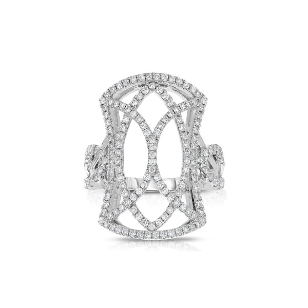 Open Design Pavé Diamond Ring, 14K White Gold