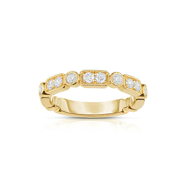 Multishape Bezel Set Diamond Band, 14K Yellow Gold