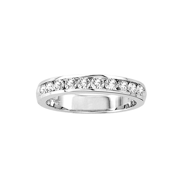 Channel Set Halfway Around Diamond Band, .50 Carat, 14K White Gold