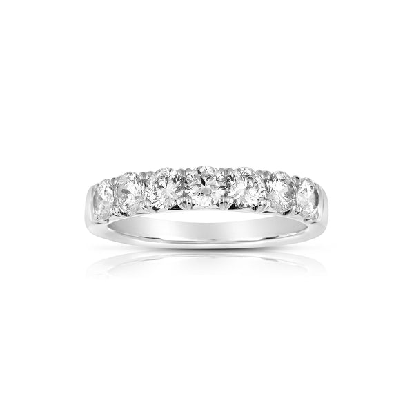 Seven Stone Diamond Band, 2 Carats, 14K White Gold