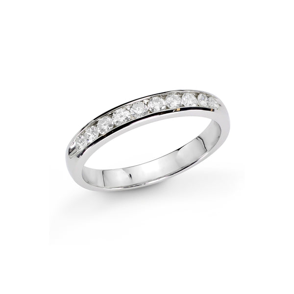 Channel Set Halfway Around Diamond Band, .33 Carat, 14K White Gold
