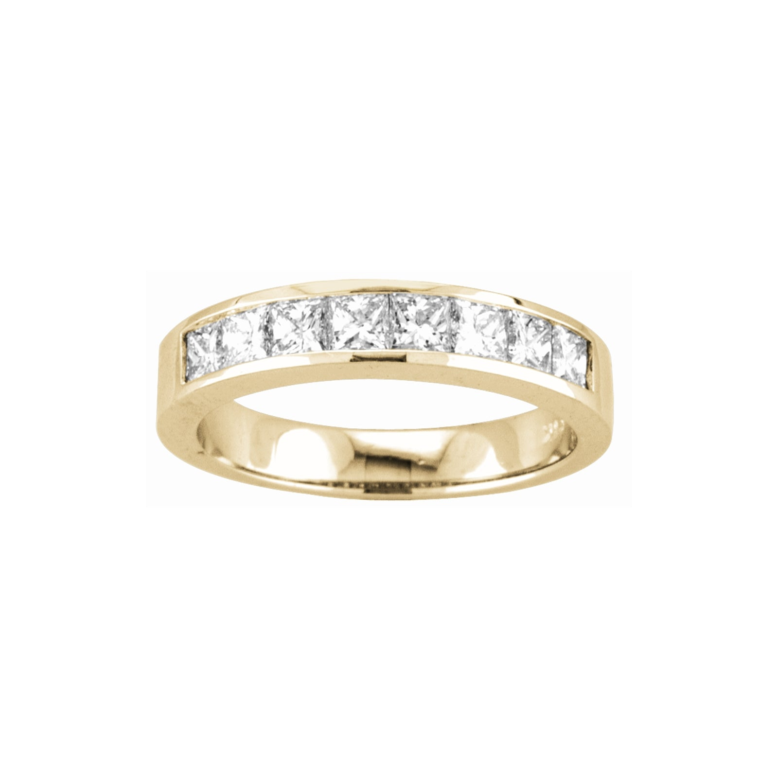 Channel Set Princess Cut Diamond Band, .75 Carat, 14K Yellow Gold