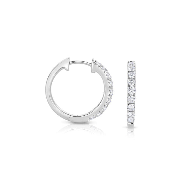 Diamond Huggie Hoop Earrings, .20 Carat, 14K White Gold