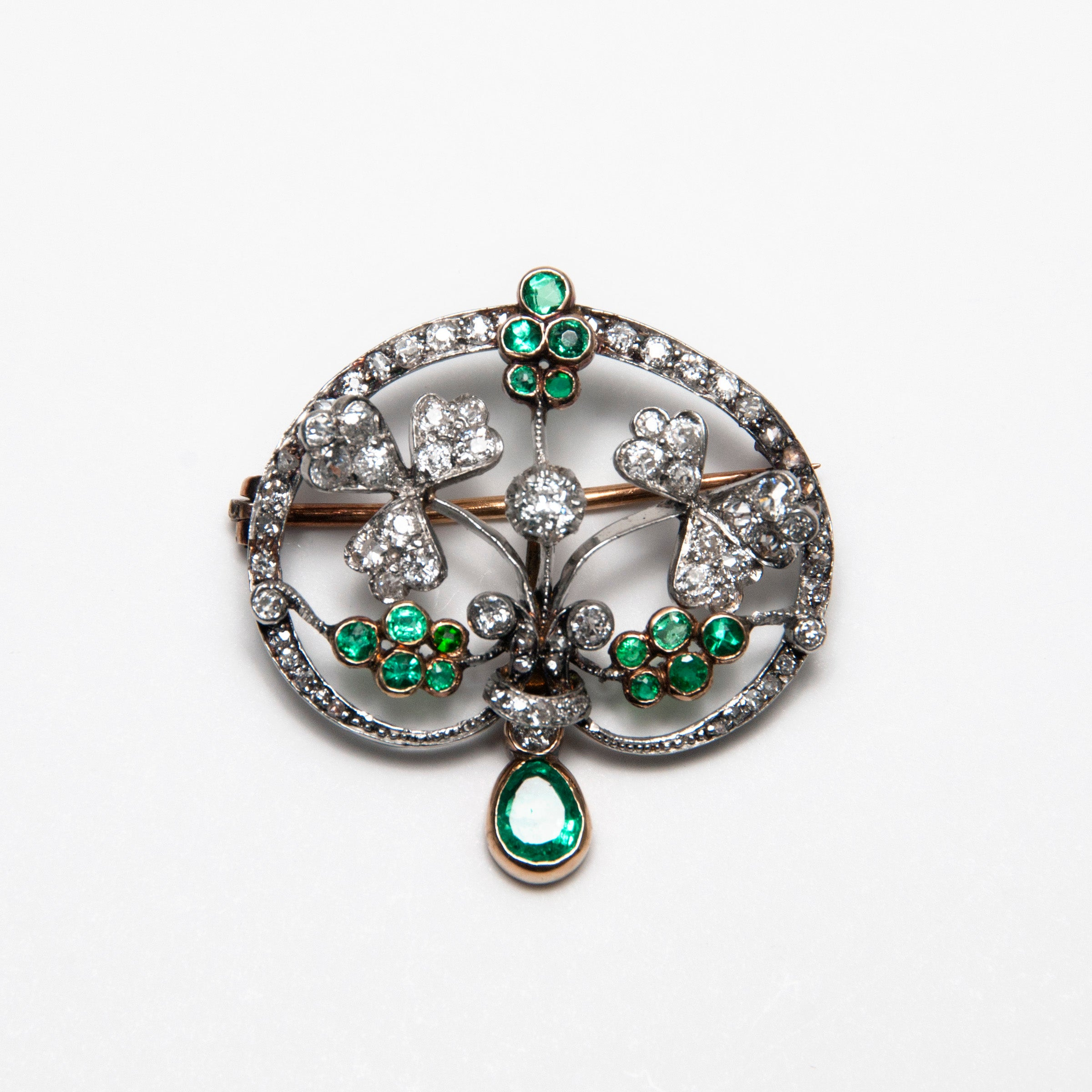 Antique Floral Pin with Diamonds and Emeralds, Platinum and 18K Gold