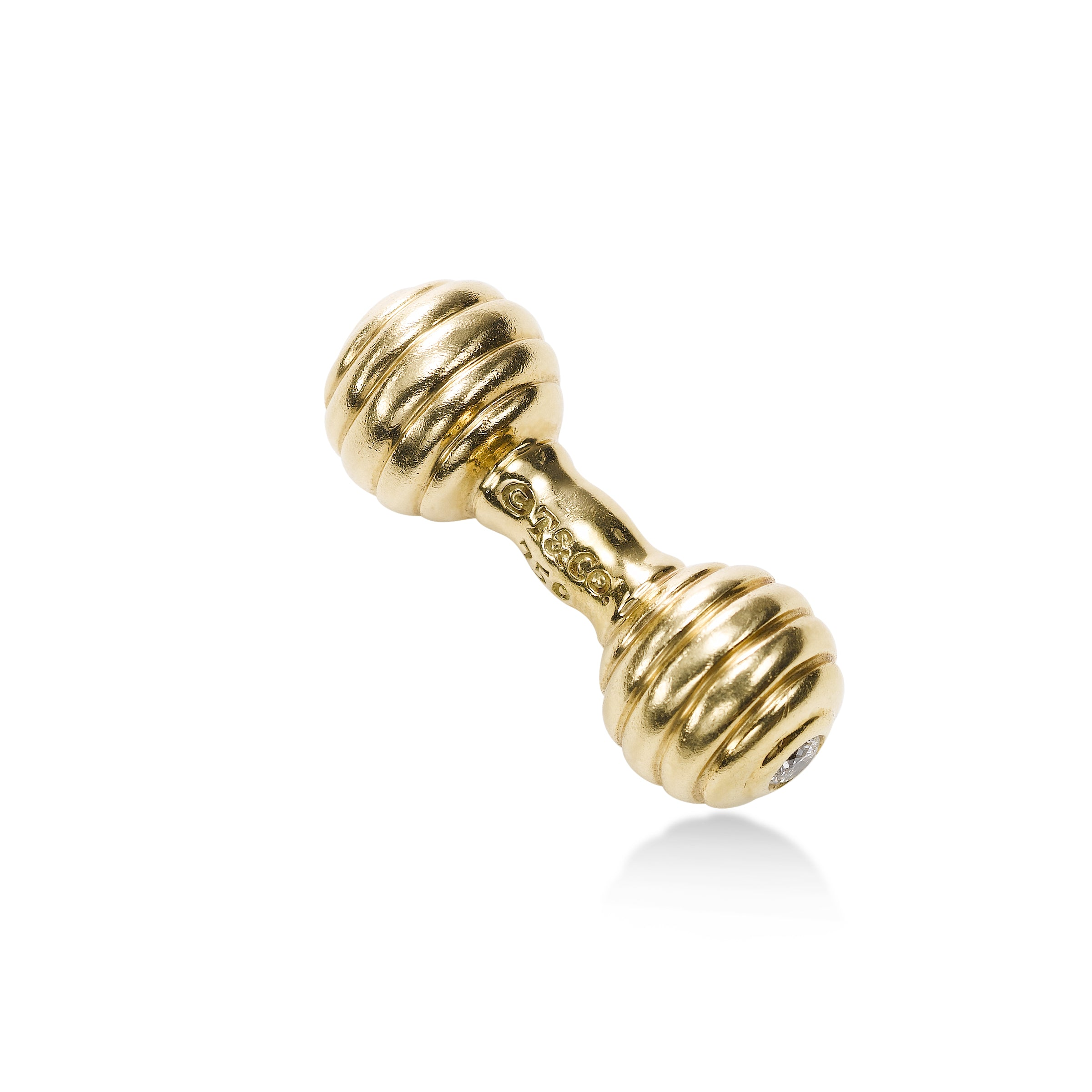 Diamond Baby Rattle Charm, 18K Yellow Gold, Signed T&Co.
