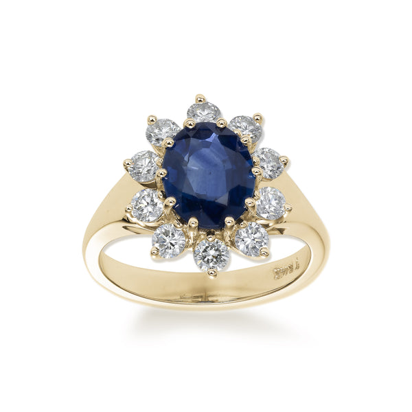 Regal Sapphire and Diamond Ring, 18K Yellow Gold