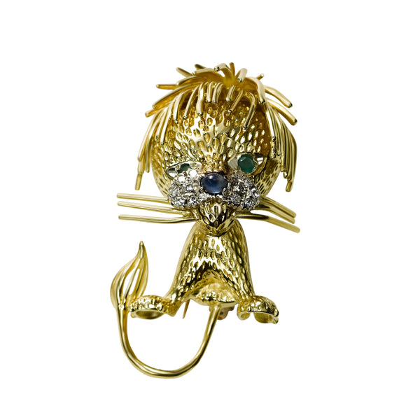 Lion Pin, 18K Yellow Gold