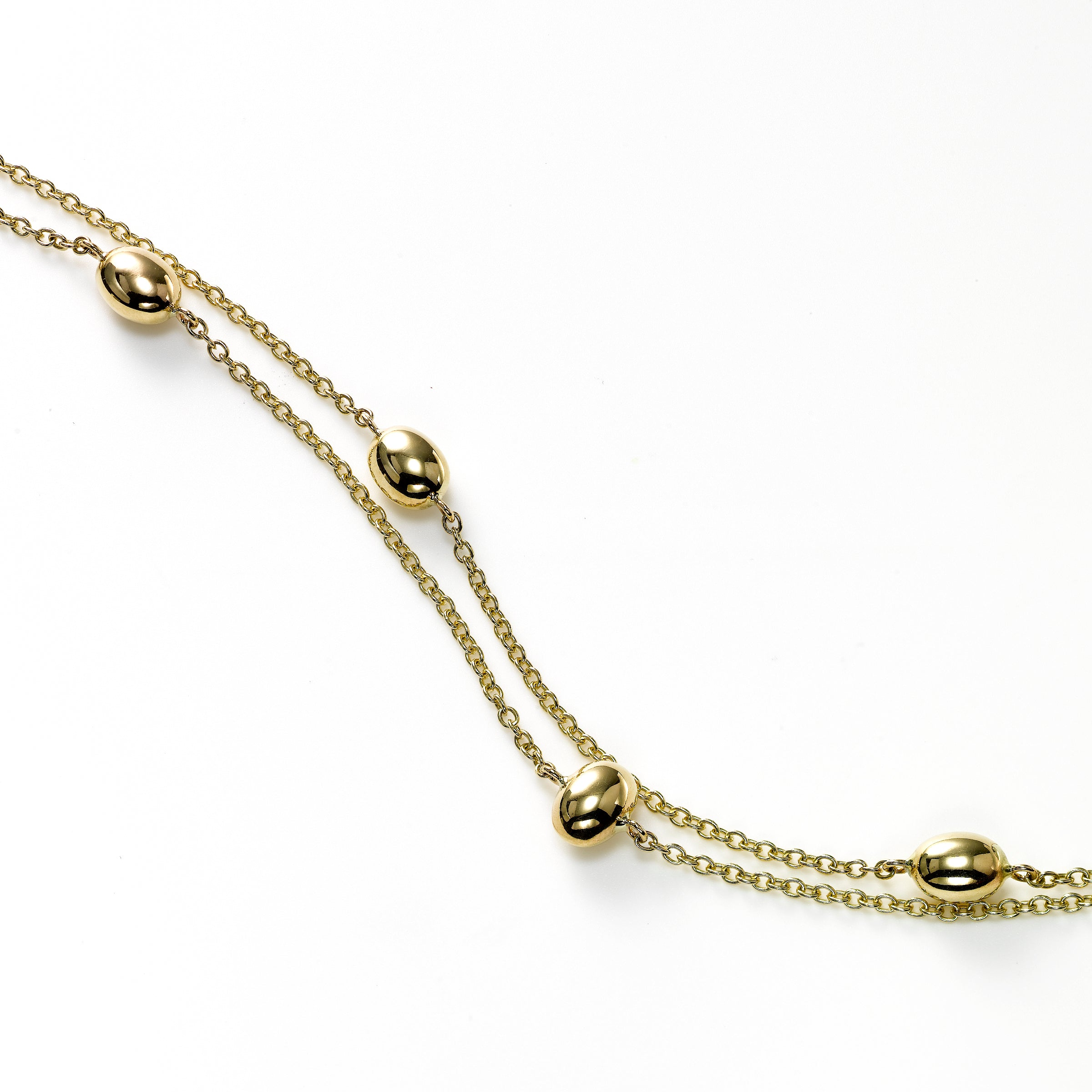 Double Strand Oval Bead Station Bracelet, 14K Yellow Gold