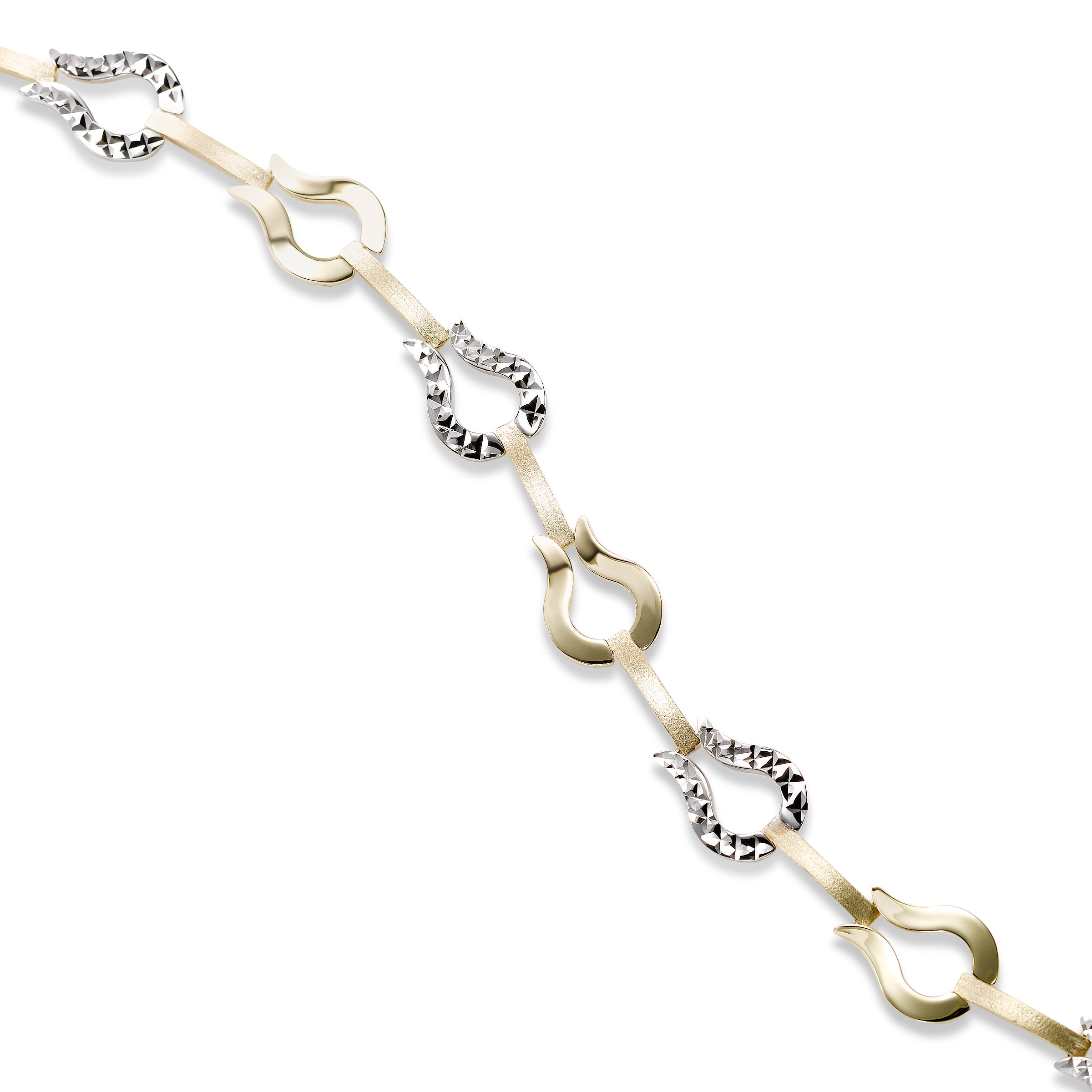 Two Tone Fancy Link Bracelet, 14 Karat Gold