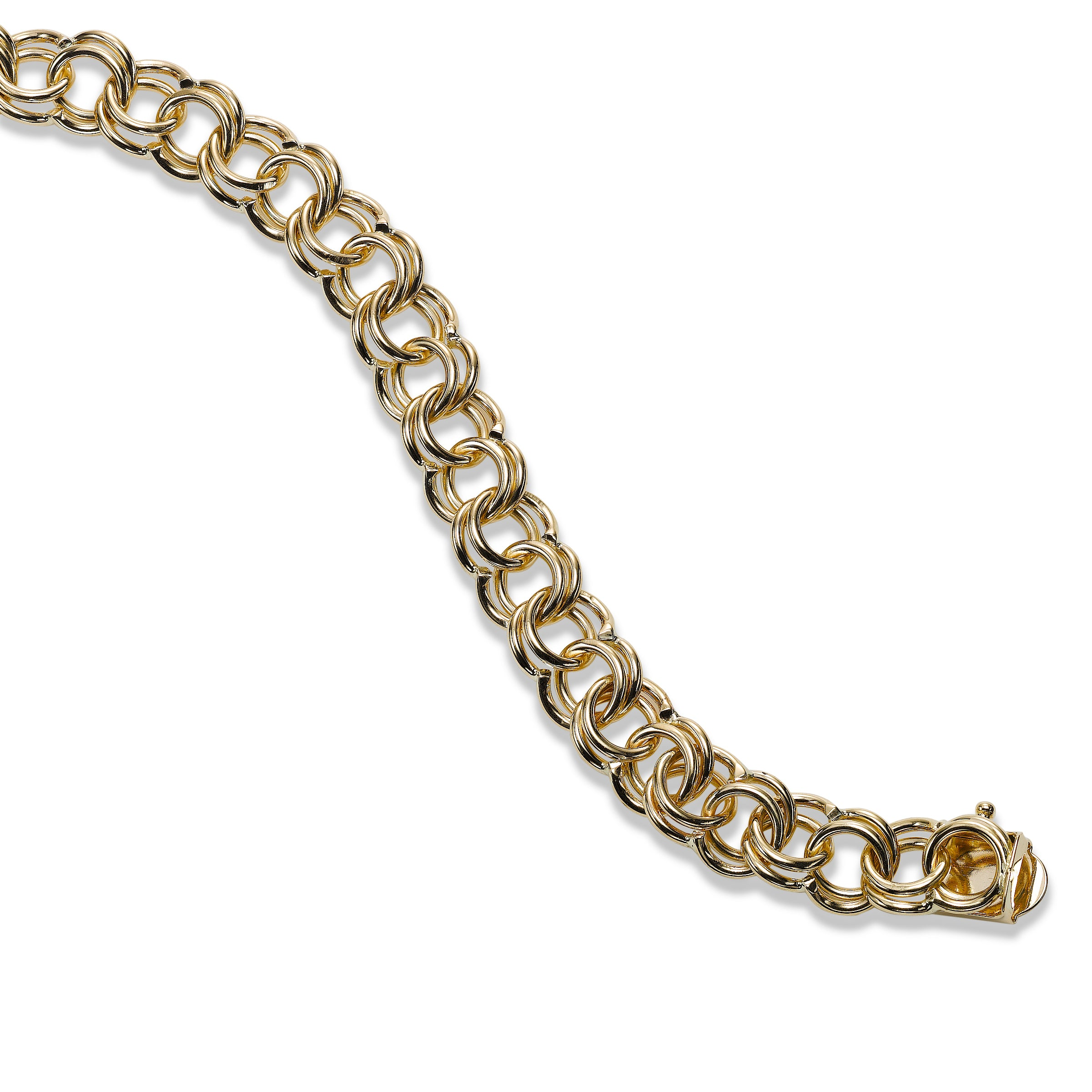 Double Link Charm Bracelet, 14K Yellow Gold