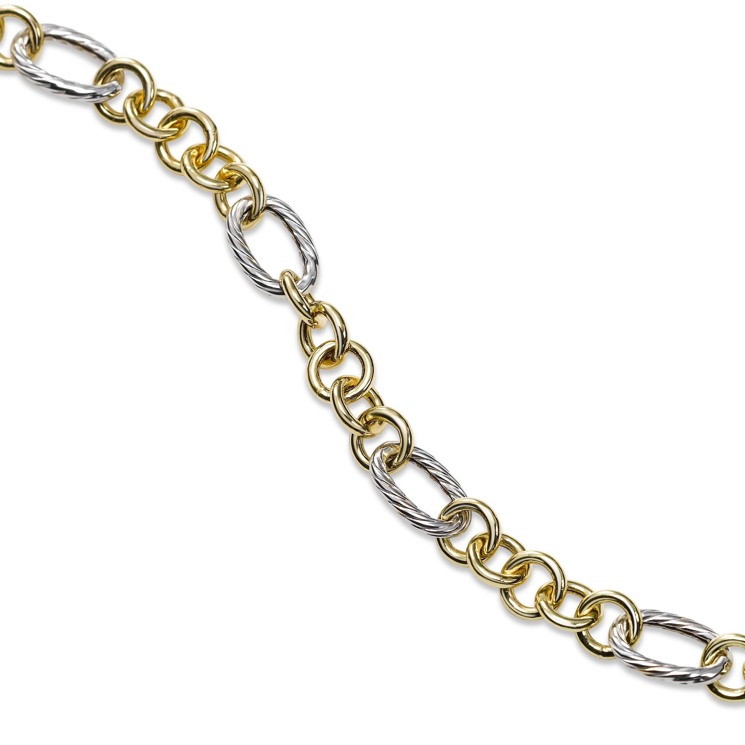 Two Tone Euro Link Bracelet, 14 Karat Gold, 7.25 inches