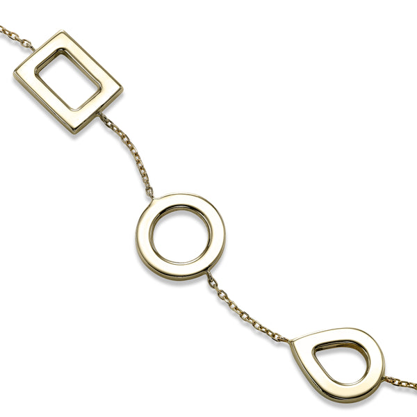Geometric Shapes Flexible Bracelet, 14K Yellow Gold