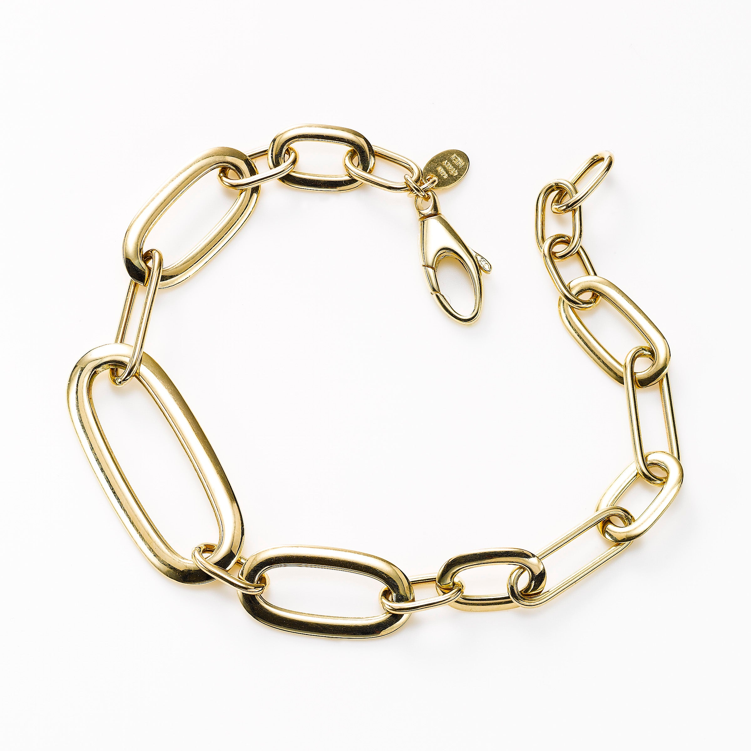 Graduated Oval Link Bracelet, 14K Yellow Gold