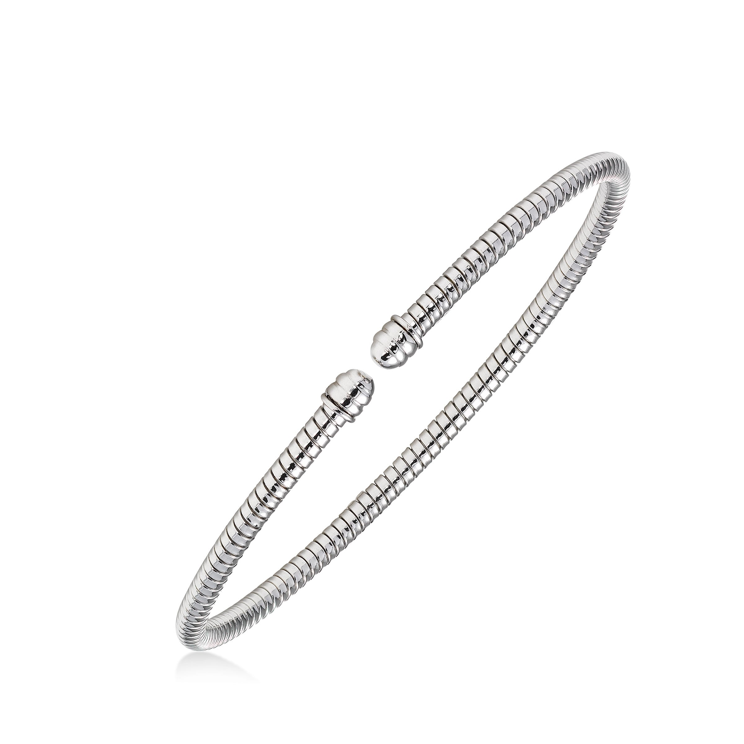 Flexible Open Cuff Bracelet, 14K White Gold