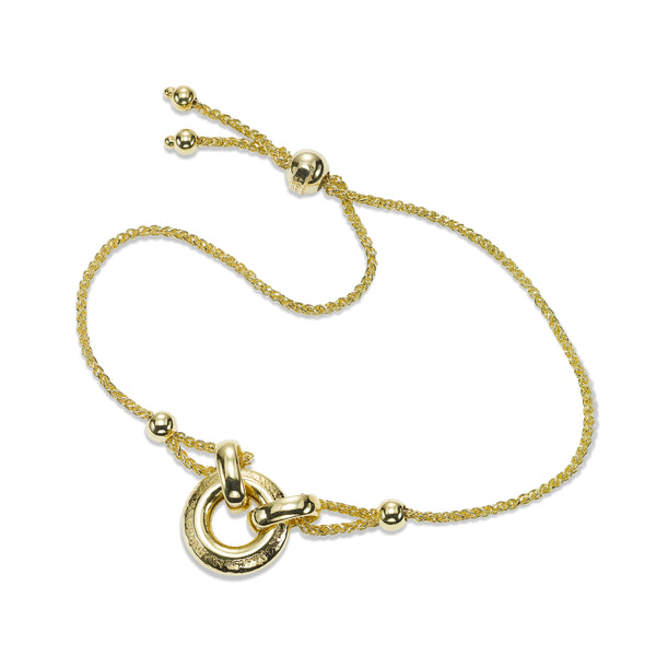 Wheat Chain Bracelet with Loop Design, 14K Yellow Gold